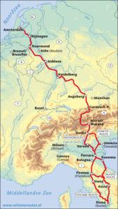 De fietsroute naar Rome